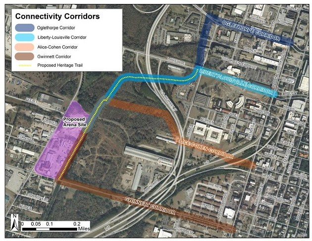 Proposed connectivity corridors between the arena site and downtown. - ILLUSTRATION FROM ARENA REPORT