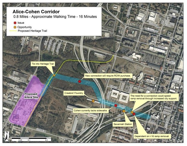 An inset of the Alice/Cohen streets Corridor - ILLUSTRATION FROM ARENA REPORT