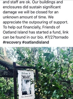 A screenshot of a post by Oatland Wildlife Center after the F1 tornado strike.