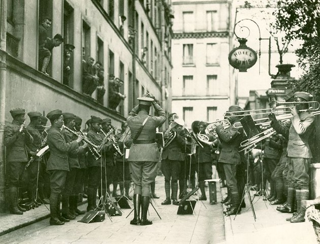 369th Regimental Band performs for American wounded at Base Hospital No. 9, Paris, France, September 9, 1918. Photo courtesy of the City of Savannah Municipal Archives.