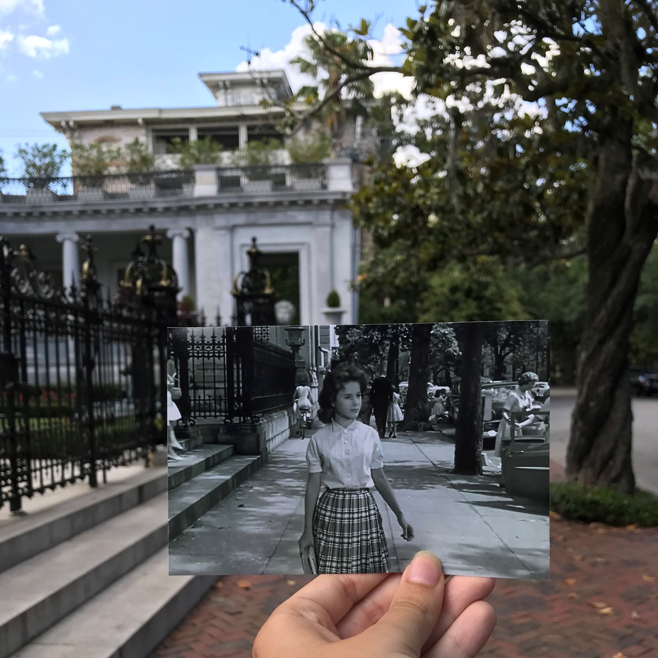 """Last year's photo contest first place winner was Cecilia Morris with the placement of this still from the 1962 film """"Cape Fear"""" on the front steps of the Armstrong Mansion on Bull St., at the north end of Forsyth Park. The photographer's inspiration was her love of Savannah, film history and historic preservation as a means to educate, enrich and benefit the community's culture."""