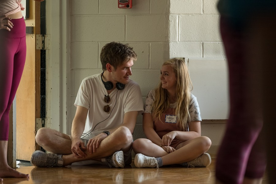 Bo Burnham and Elsie Fisher on the set of EIGHTH GRADE - PHOTO BY LINDA KALLERUS, COURTESY OF A24
