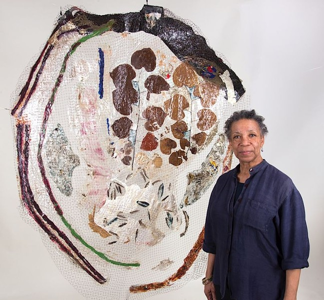 Suzanne Jackson with her work Woodpecker's Last Blues (2013).  Photo by David Kaminsky.