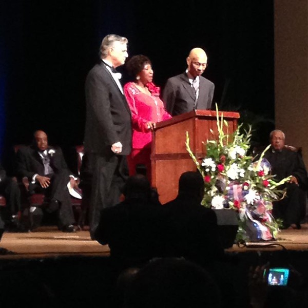 Mayor Eddie DeLoach, former Mayor Edna Jackson, and former Mayor Otis Johnson; Alderman Van Johnson looks on from the background at left