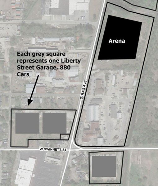 Parking configuration at Westside Arena if the main site is left open for development. Map by author