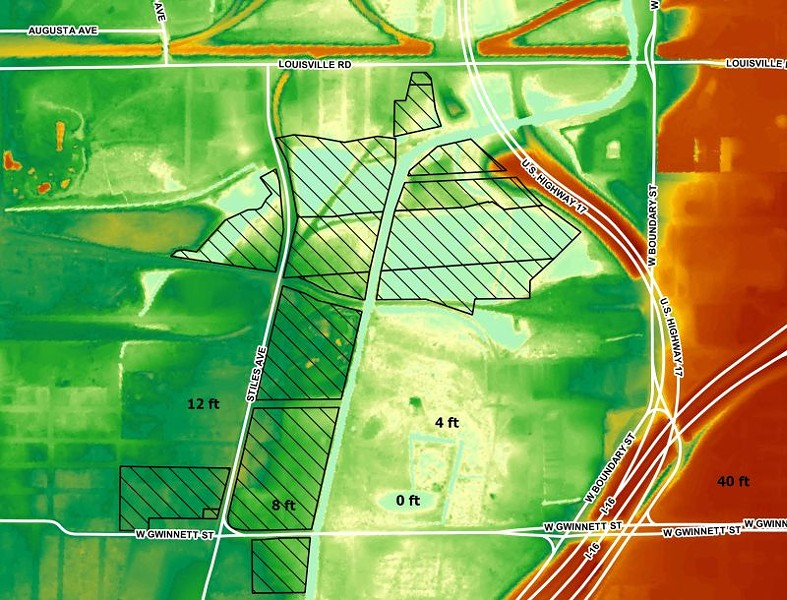 Elevation map of the site with blue representing low elevations and red representing high elevations. City-owned parcels in black hatching. Source: GA Tech