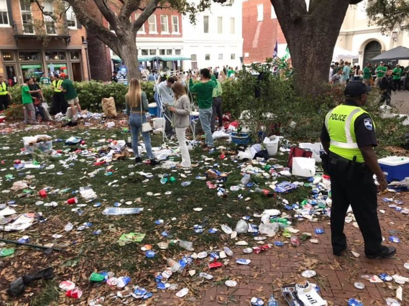 Wright Square was totally trashed by the crowd that moved from Chippewa Square this year.
