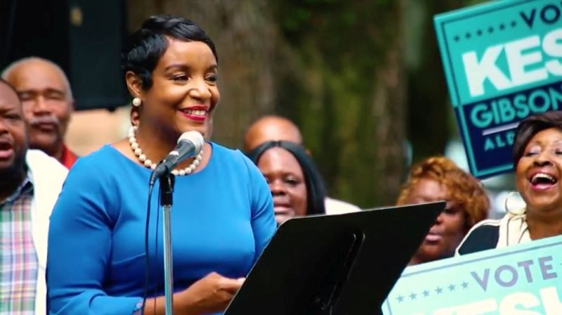 Gibson-Carter at last week's candidacy announcement