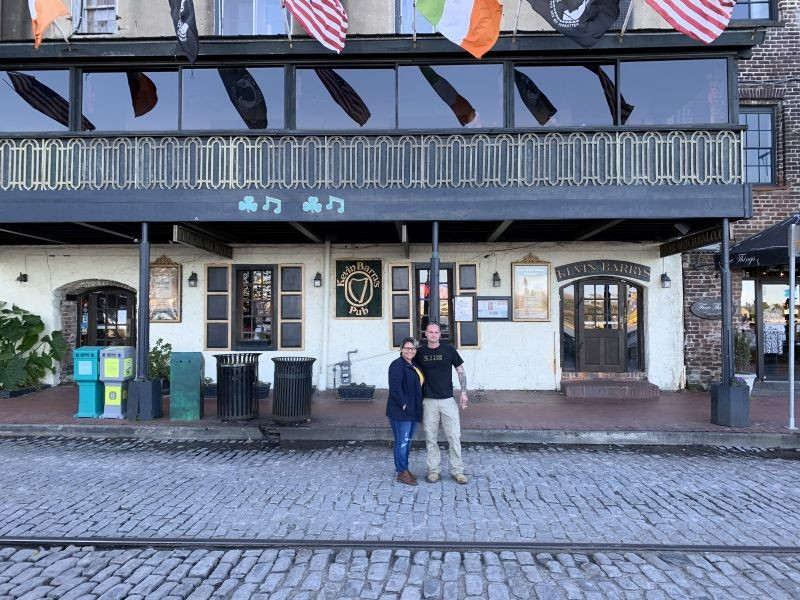 Kevin and Linda Farley outside their favorite bar.