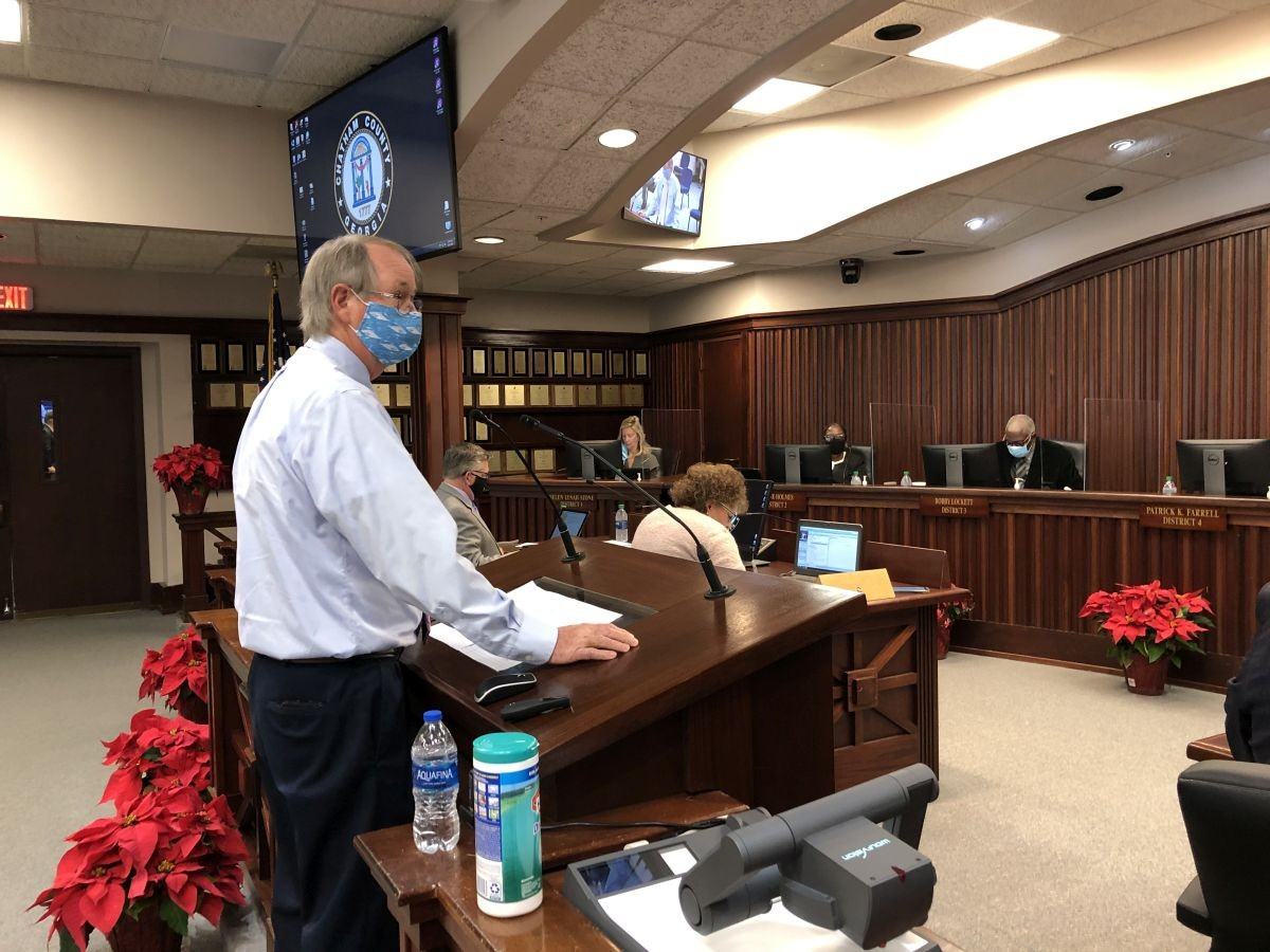 Dr. Lawton Davis, the Coastal Health District health director, addresses the Chatham County Commission during their Dec. 4 meeting.