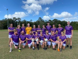 The Savannah Gaelic Athletic Association hurling team gears up and gathers for a team photo on the field.