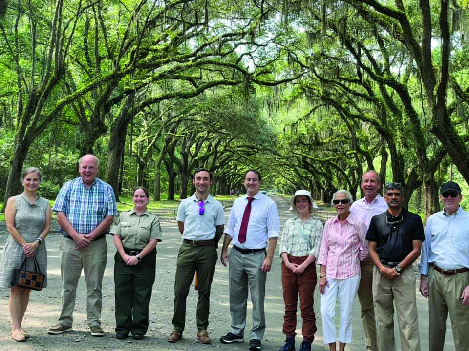 (L-R) Marjorie Young, President of Rotary Club of Savannah; Frank Moore, Rotary Club of Savannah; Gretchen Greminger, Wormsloe Historic Site Manager, GA Dept. of Natural Resources; Jake Henry, Savannah Tree Foundation; Rabbi Robert Haas, Sect/Treasurer Rotary Club of Savannah; Sydney Young, Savannah Tree Foundation; Lynda Beam, co-founder of the Savannah Tree Foundation; Steve Chick - Rotary Club of Savannah; Capt. Lux Lakshman, Sgt of Arms, Rotary Club of Savannah; Steve Stephens, Rotary Club of Savannah.