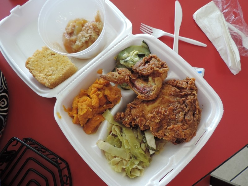 Fried chicken, cabbage, zuke & squash, sweet potatoes, cornbread + cobbler