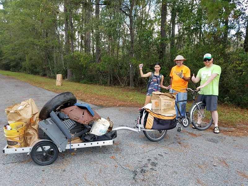 L-R: Jenna Nick, Dr. William Jamerson, and Brent Buice were among the volunteers who participated in a trail clean-up in south Chatham County Oct. 15.