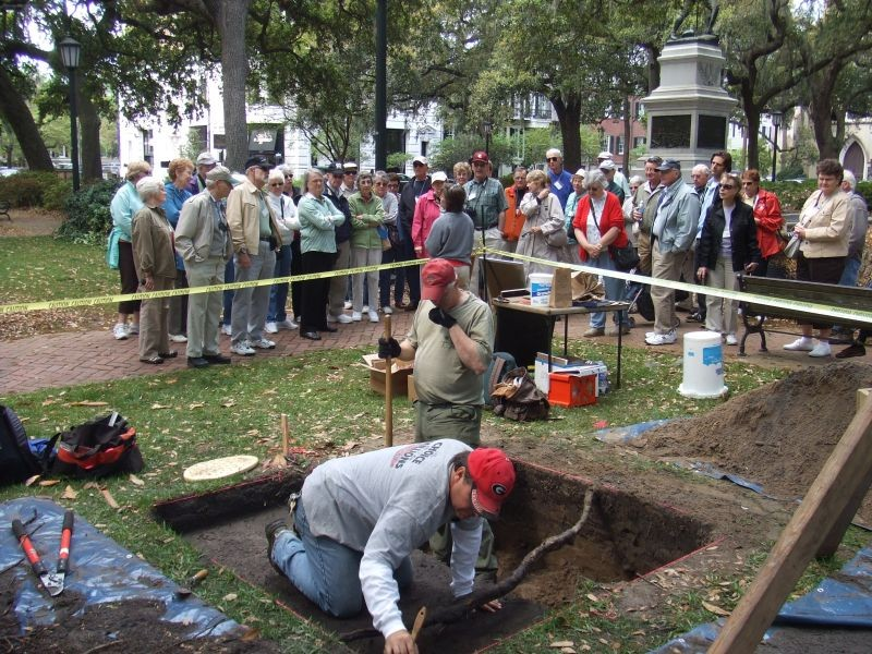 This dig in Madison Square was made possible by a National Park Service grant. It wasn't required by any local or state ordinance.