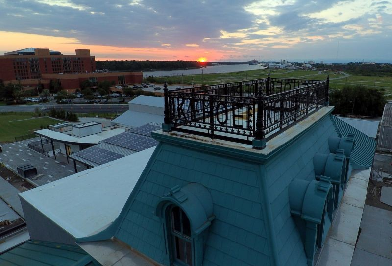 The distinctive 'widow's walk' on top of the Kehoe Iron Works foundry and office building; the Savannah River is in the background. - PHOTO BY JAMES BYOUS