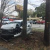 Three-car crash on DeRenne