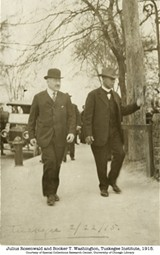 Sears CEO Julius Rosenwald partnered with Booker T. Washington to build over 5300 schools for black children between 1912 and 1932. The project is the subject of Rosenwald, opening Nov. 20.