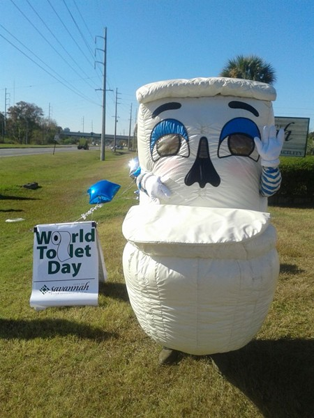 Water Reclamation mascot Less Waters reminds you that a clean, safe, private potty is nothing to take for granted. - PHOTO BY LAURA WALKER