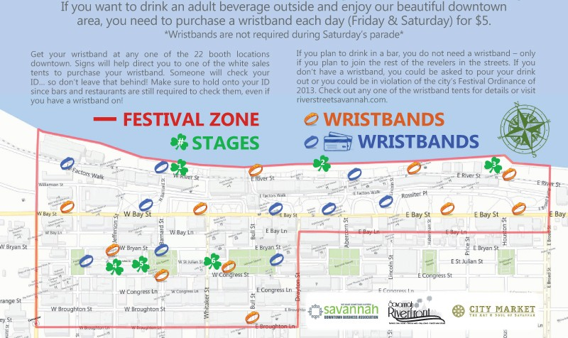 Wristband locations and stage map