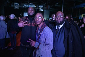 OneSelf (far right) with his nephew, award winner DQHampton (middle) at the 2019 Dallas Observer Music Awards. - MIKE BROOKS