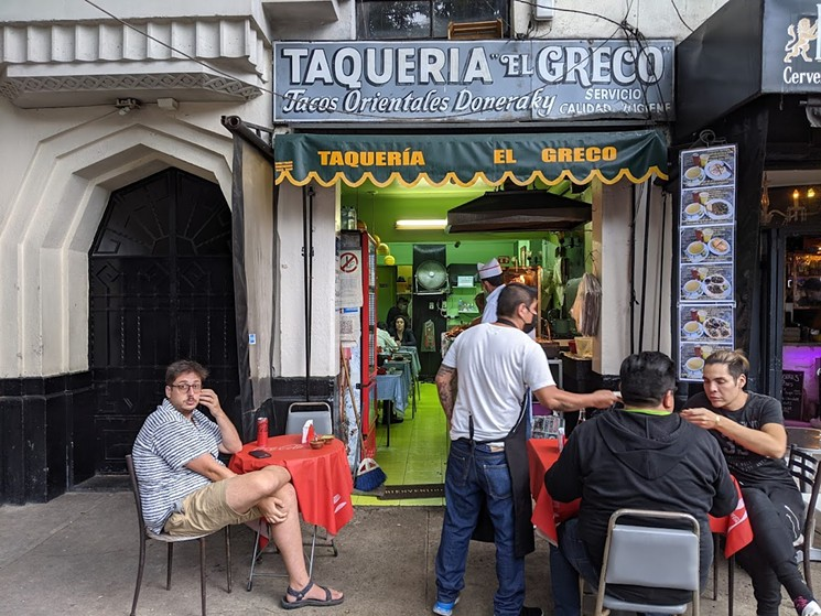 One of our critic's favorite taco spots in Mexico City sells tacos with a Middle Eastern influence. - BRIAN REINHART