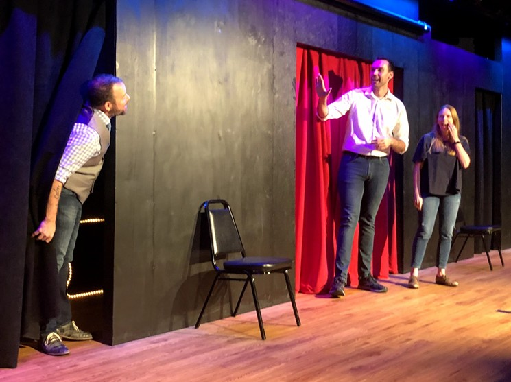 Dallas Comedy Club improv troupe members Jerry!  including (left to right) Chad Cline, Dane Robertson and Katy Evans star in a special preview night of the new comedy space Deep Ellum on Elm Street.  -DANNY GALLAGHER