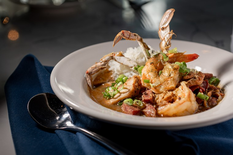 The gumbo at Roots uses a recipe passed down from chef Derry's mom. - ALISON MCLEAN