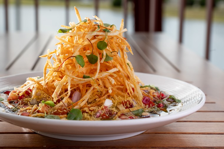 The towering potato tikki chaat is a creative execution of the classic street snack.  - ALISON MCLEAN