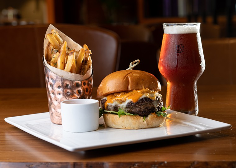 The Wagyu burger topped with a chili sauce - ALISON MCLEAN