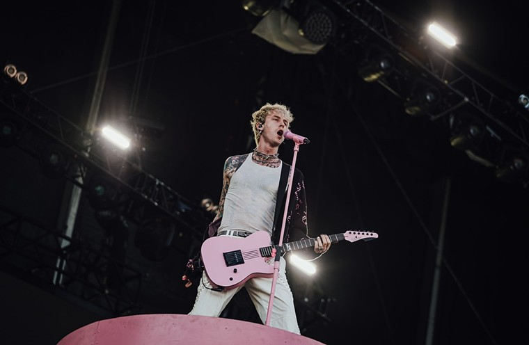 Machine Gun Kelly left Megan at home and rocked the scene at ACL.  - RACHEL PARKER