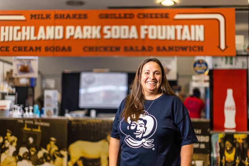Michelle Edwards operates the Highland Park Soda Fountain at the fair. - KATHY TRAN