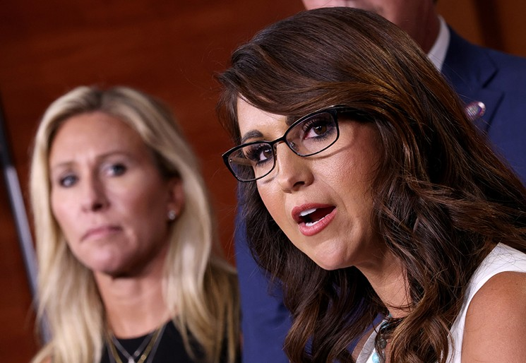 Lauren Boebert (right, with the equally controversial Marjorie Taylor Greene) is the congressional representative for Grand Junction. - GETTY IMAGES