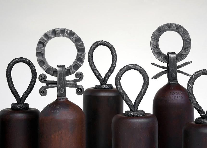 Ridgway Rendezvous vendor Jeremy Monroe upcycles scrap metal and junkyard finds into sculptures. - JEREMY MONROE