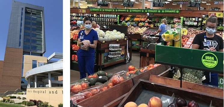 St. Mary's Hospital is the largest medical facility in the region surrounding Grand Junction; two hospital workers act as good masking examples at a local City Market grocery store. - PHOTOS BY MICHAEL ROBERTS