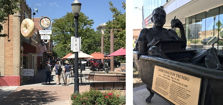 Among the highlights in Grand Junction's quaint downtown is a statue of Oscar-winner Dalton Trumbo, who was raised in the city. - PHOTOS BY MICHAEL ROBERTS
