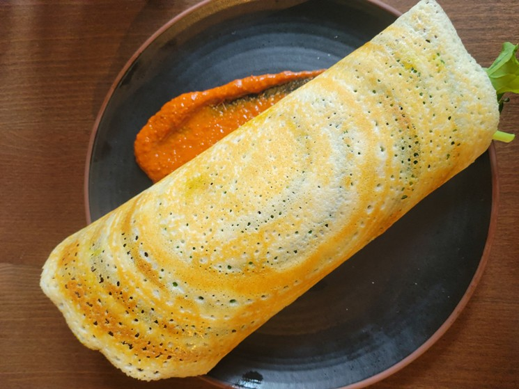 Make sure to try the dosa, which comes stuffed with chicken masala, falafel or eggs. - LINNEA COVINGTON