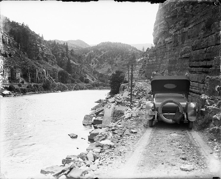 The interstate followed the path of an early road along the Colorado River in Glenwood Canyon. - DENVER PUBLIC LIBRARY