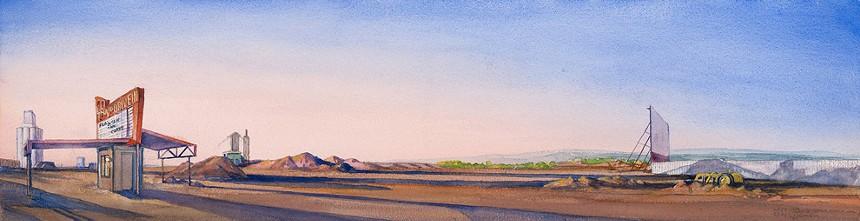 """Don Stinson, """"Tru Vu, Delta, Colorado"""" 2020-21, watercolor on Arches paper. - DON STINSON, COURTESY OF DAVID B. SMITH GALLERY"""