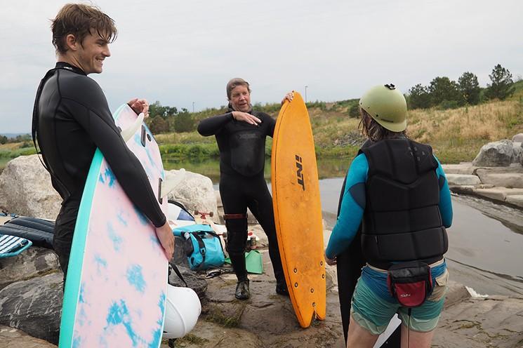 George Da-Grom (left), Colorado River Surfing Association president David Riordon and Dan Vandenberg. - JAY VOLLMAR