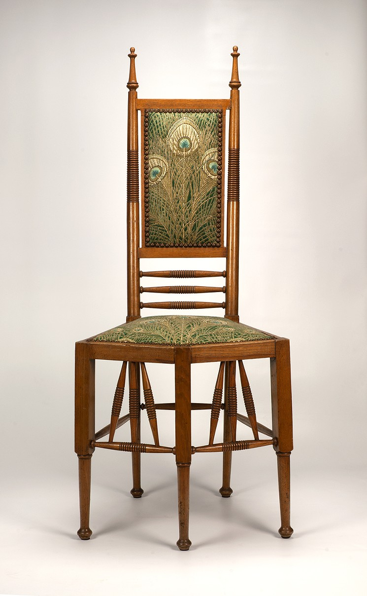 Aesthetic Side Chair, early-mid 1880s, design attributed to Christopher Dresser (1834–1904). Wood and upholstery. - COLLECTION KIRKLAND MUSEUM OF FINE & DECORATIVE ART, DENVER