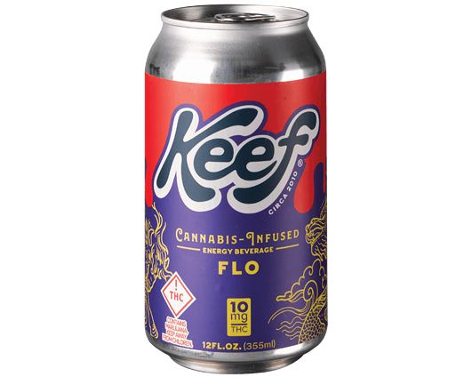 Keef's Flo Energy comes with 10 milligrams of THC and 90 milligrams of caffeine. - KEEF BRANDS