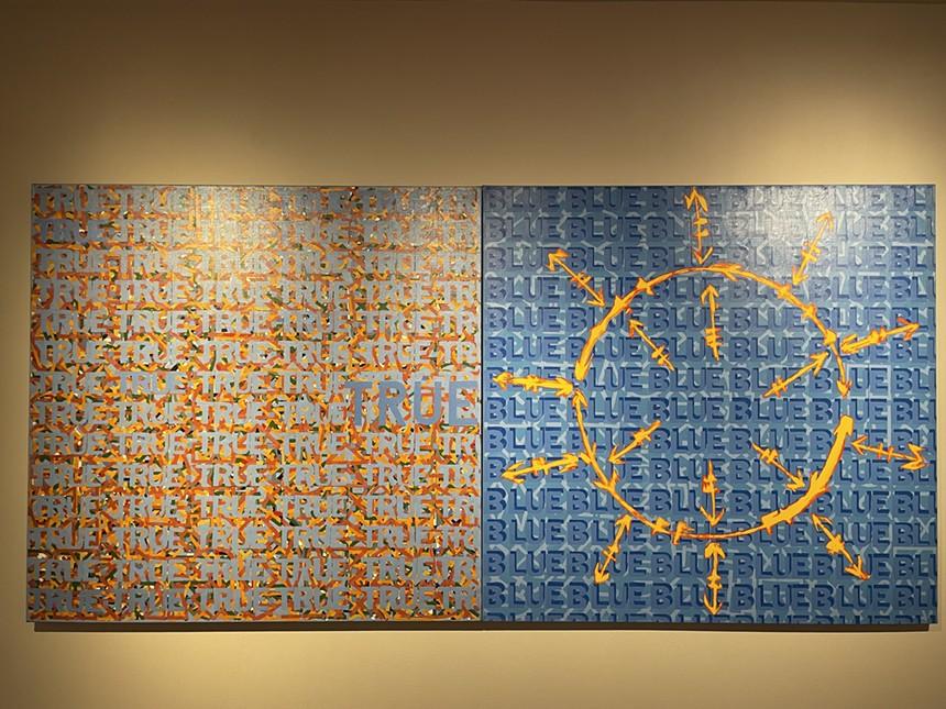 "Roland Bernier's ""TRUE BLUE,"" acrylic on canvas, at the Arvada Center. - ROBERT DELANEY"