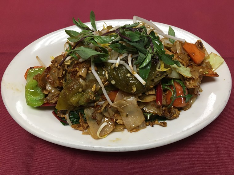 Chile basil pad kee mao noodles are on the menu at Taste of Thailand for a few more weeks. - TASTE OF THAILAND