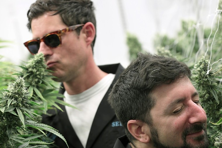 Big Gigantic's Dominic Lalli and Jermey Salken take in the scents of Seed & Smith's plants in anticipation of their collaboration with the company. - COURTESY OF SEED & SMITH