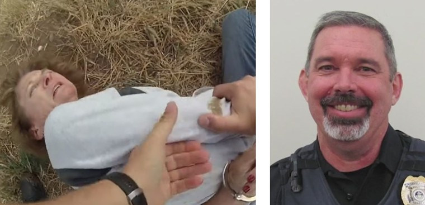 A screen capture from body-worn footage of Karen Garner's brutal arrest and a portrait of now-former Loveland Police Sergeant Philip Metzler. - CITY OF LOVELAND