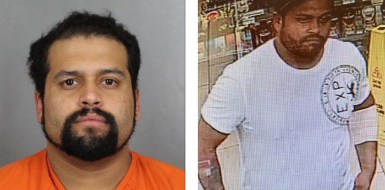 A booking photo and surveillance image of Rigoberto Valles Dominguez, who's suspected of shooting a Littleton Police officer. - CITY OF LITTLETON