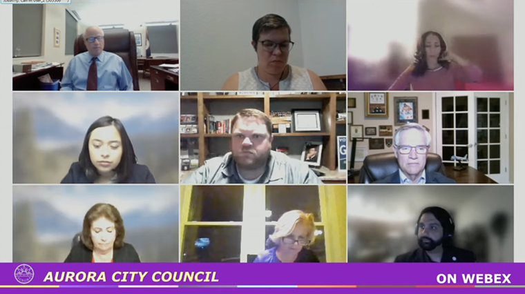 Aurora City Councilman Juan Marcano (bottom right) plans to reintroduce marijuana hospitality after the November election, when as many as five seats could change. - AURORA CITY COUNCIL