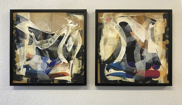 """Chuck McCoy, """"Left Out"""" and """"Observed,"""" paper, paint and wax on panels with all-over inkjet printing. - CHUCK MCCOY"""