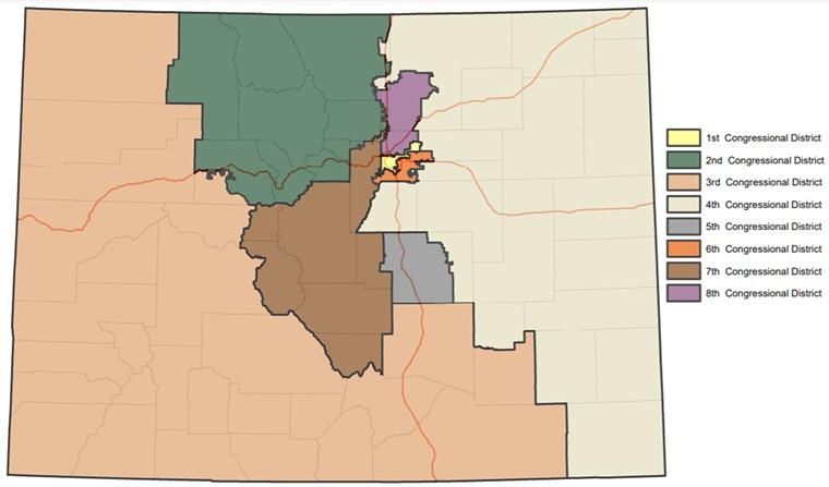The map submitted to the Colorado Supreme Court on September 28. The 8th Congressional District is shown in purple. - REDISTRICTING.COLORADO.GOV